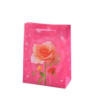 Пакет подарунковий 16х12х6 см з трояндою рожевий оптом