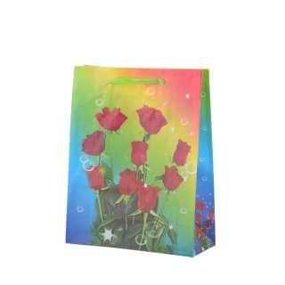 Пакет подарунковий 16х12х6 см з трояндами червоними райдужний оптом