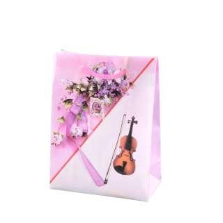 Пакет подарунковий 16х12х6 см з букетом і скрипкою рожевий оптом