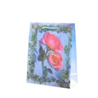 Пакет подарунковий 16х12х6 см з трояндами і плющем блакитний оптом