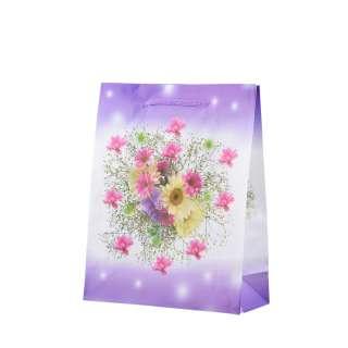 Пакет подарунковий 16х12х6 см з букетом бузково-білий оптом