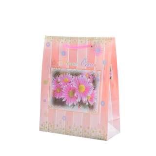 Пакет подарунковий 16х12х6 см в смужку з гербери персиковий оптом