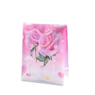 Пакет подарунковий 16х12х6 см з трояндами в серце рожевий оптом
