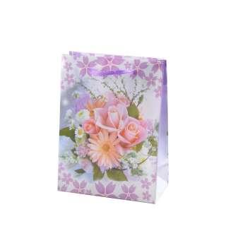 Пакет подарунковий 16х12х6 см з букетом герберою біло-фіолетовий оптом