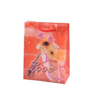 Пакет подарунковий 16х12х6 см з букетом і скрипкою Love червоний оптом