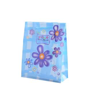 Пакет подарунковий 16х12х6 см з ромашками синіми блакитний оптом