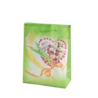 Пакет подарунковий 16х12х6 см з серцем з квітів зелений оптом