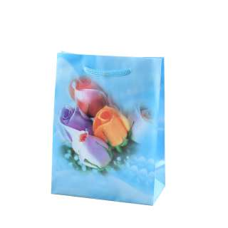 Пакет подарунковий 16х12х6 см з трояндами блакитний оптом