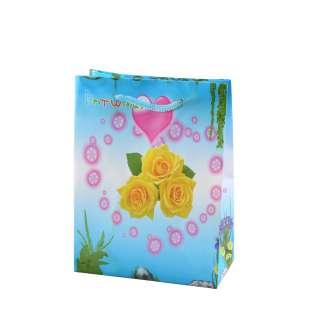 Пакет подарунковий 16х12х6 см з серцем трояндами жовтими блакитний оптом