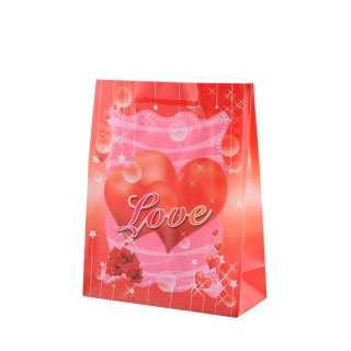 Пакет подарунковий 16х12х6 см з серцем LOVE червоний оптом