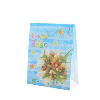 Пакет подарунковий 16х12х6 см в смужку Beautiful The Rose блакитний оптом