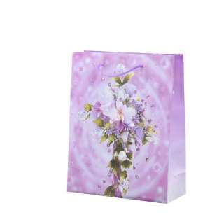 Пакет подарунковий 16х12х6 см з букетом лілією бузковий оптом