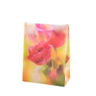 Пакет подарунковий 16х12х6 см з трояндою жовтий оптом