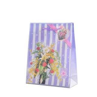 Пакет подарунковий 16х12х6 см в смужку з букетом фіолетовий оптом
