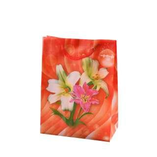 Пакет подарунковий 16х12х6 см з ліліями червоний оптом