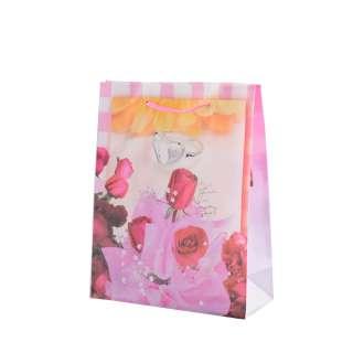 Пакет подарунковий 16х12х6 см в смужку з кільцем і трояндами біло-рожевий оптом
