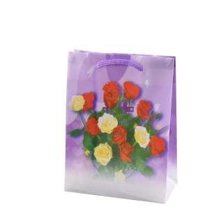 Пакет подарунковий 16х12х6 см з трояндами червоно-жовтими фіолетовий оптом