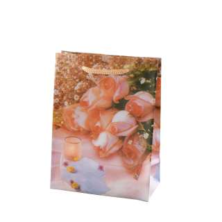 Пакет подарунковий 16х12х6 см зі свічкою персиковий оптом