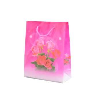 Пакет подарунковий 16х12х6 см з трояндами малиновий оптом