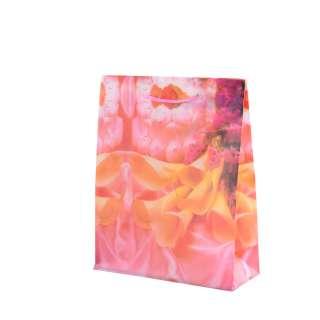 Пакет подарунковий 16х12х6 см з каллами жовтими фрезовий оптом