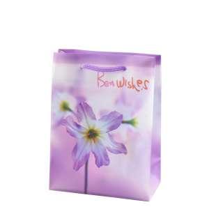 Пакет подарунковий 16х12х6 см з ліліями Best wishes бузковий оптом
