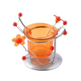 Подсвечник на 1 свечу стакан оранжевый с цветами с цветами 8х10х9 см металл серебристый оптом