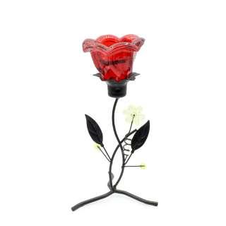 Подсвечник на 1 свечу стакан оранжевый на ножке с цветками 20х9х9 см металл черный оптом