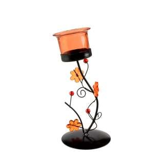 Подсвечник на 1 свечу стакан красный с цветами 19 см металл черный 20х10х10 разные оптом