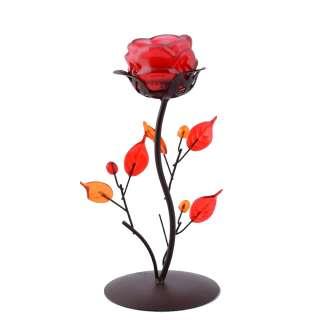 Подсвечник роза красная с листьями на 1 свечу 21х9х9 см металл коричневый оптом