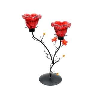 Подсвечник колокольчик красный с цветами на 2 свечи 25х17х9 см металл черный оптом