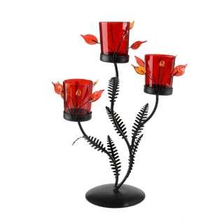 Подсвечник роза красная с листьями на 3 свечи 30х22х11 см металл коричневый оптом