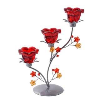 Подсвечник колокольчик красный с цветами на 3 свечи 29х23х11 см металл серебристый оптом