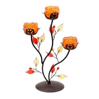 Подсвечник роза оранжевая с листьями на 3 свечи 30х21х11 см металл коричневый оптом