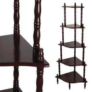 Стеллаж угловой 5 полок деревянный 136х57х39 см коричневый темный оптом