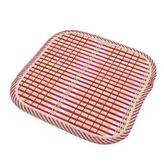Подставка под горячее бамбуковая соломка квадратная 17х17 см бежево-малиновая оптом