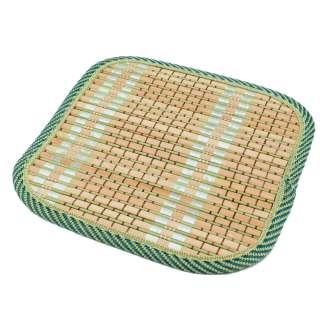 Подставка под горячее бамбуковая соломка квадратная 17х17 см бежево-салатовая оптом