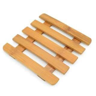 Подставка под горячее бамбуковая решетка 5 планок 15х15 см оптом