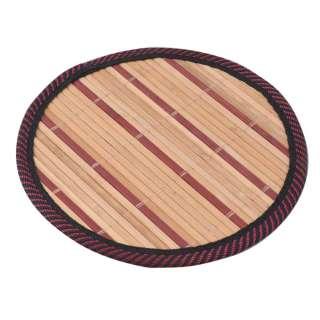 Подставка под горячее бамбуковая соломка круглая 18 см бежево-бордовая оптом