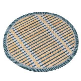 Подставка под горячее бамбуковая соломка круглая 18 см бежево-синяя оптом