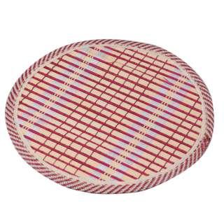 Подставка под горячее бамбуковая соломка круглая 18 см бежево-малиновая оптом