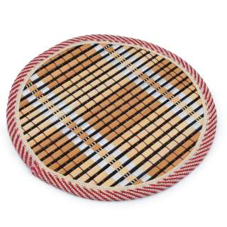 Подставка под горячее бамбуковая соломка круглая 18 см бежево-черная оптом