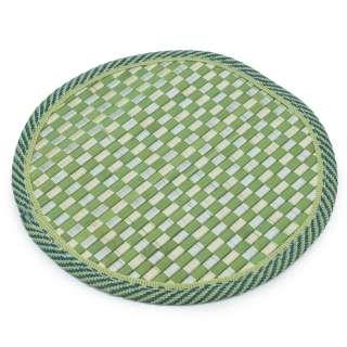Подставка под горячее бамбуковая соломка круглая 18 см шахматка салатовая оптом
