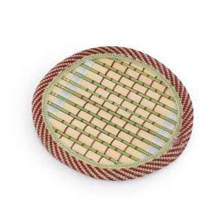 Підставка під чашки бамбукова соломка кругла зелена 10 см оптом
