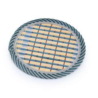 Підставка під чашки бамбукова соломка кругла бирюзова 10 см оптом