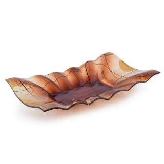 Блюдо стеклянное прямоугольное волнистое 21х33х6 см коричневое оптом