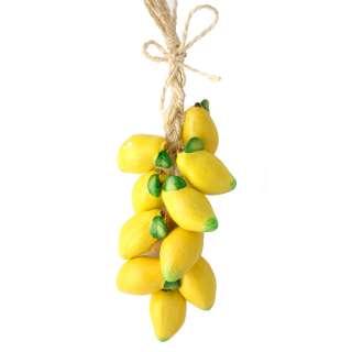 Подвеска связка декоративная 33 см лимоны керамические 7 см оптом