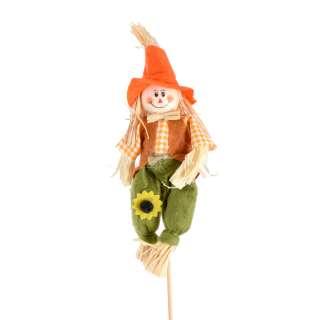 Декор для растений пугало соломенное на палочке 33 см в оранжевой шляпе оптом