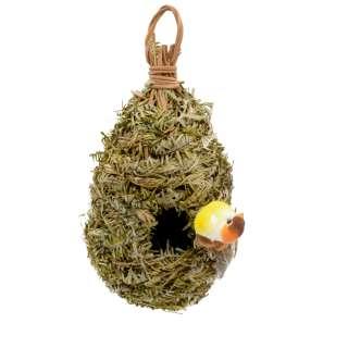 Настенный декор гнездо соломенное с листьями 23х12х12 см с птичкой оптом