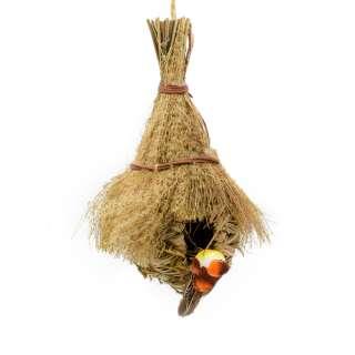 Настенный декор гнездо соломенное с веничком 30х18х13 см с птичкой оптом