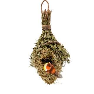 Настенный декор гнездо соломенное с веточками 30х14х11 см с птичкой оптом